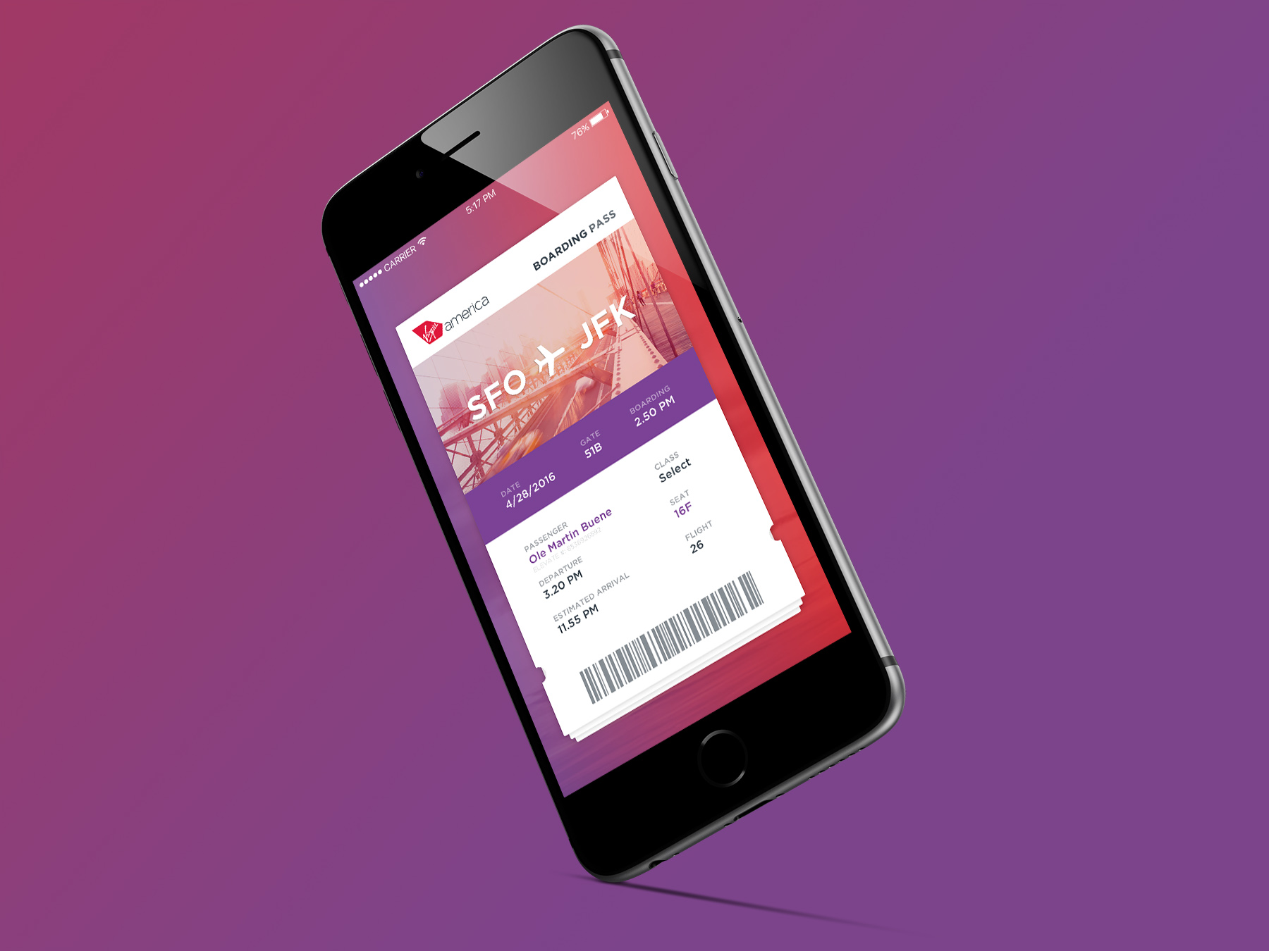virgin america - mobile boarding pass